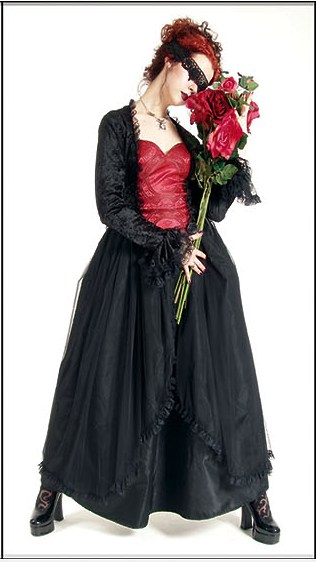 Eternal Love Plus Size Scarlet Goth Crucifix + Roses Belle Dame [5119S] - $113.99 : Mystic Crypt, the most unique, hard to find items at ghoulishly great prices! :  witch gown dress plus