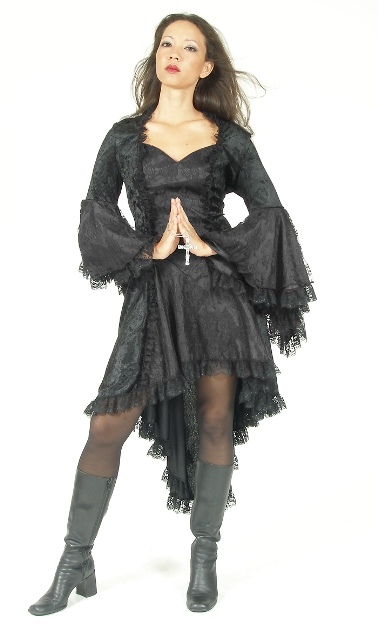 Eternal Love Plus Size Black Gothic Gwendolyn Dress Taffeta Lace