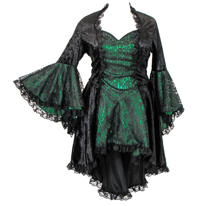 Eternal Love Plus Size Emerald Green Gothic Gwendolyn Dress Taffeta Lace
