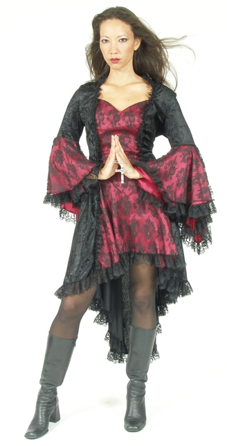 Eternal Love Plus Size Burgundy Wine Gothic Gwendolyn Dress Taffeta Lace
