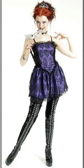 Eternal Love Gothic Violet Purple Taffeta Lace Mini Dress Tutu