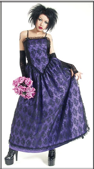 Eternal Love Gothic Violet Taffeta Lace Party Dress [5145V] - $75.99 : Mystic Crypt, the most unique, hard to find items at ghoulishly great prices!