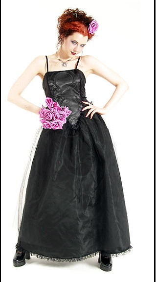 Eternal Love Black Crucifix and Roses Party Dress