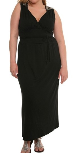 Torrid Black Embellished-Shoulder Maxi Dress