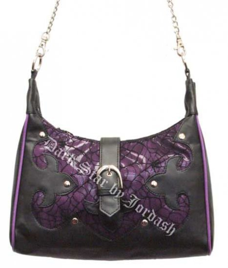 Dark Star Purple Gothic Cobweb Net/PVC Purse