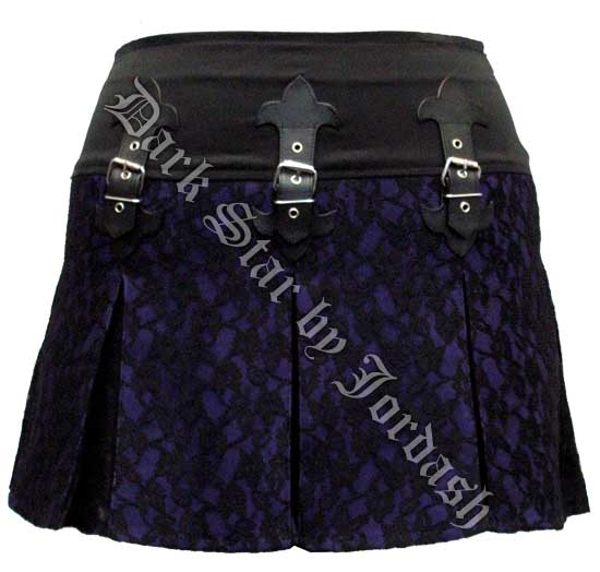 Dark Star Gothic Black & Purple Lace PVC Mini Skirt