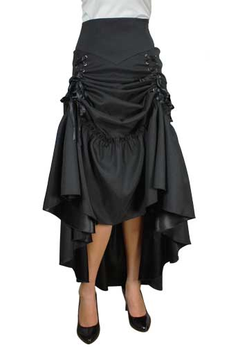 Plus Size Black Gothic Three Way Lace Up Skirt