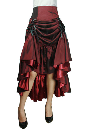 Plus Size Burgundy Gothic Three Way Lace Up Skirt