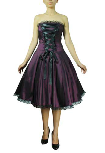 Plus Size Black and Purple Gothic Corset Ribbon Lace Dress