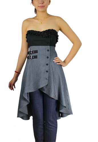Plus Size Grey Buckle Stripes Gothic Strapless Mini Dress Top