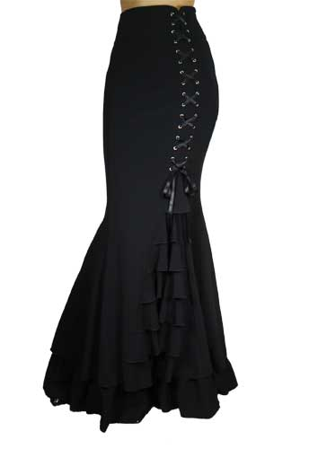 Plus Size Black Gothic Long Fishtail Ruffles Skirt