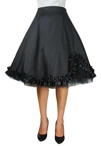Plus Size Black Satin Gothic Ruffled Skirt