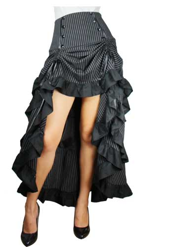 Plus Size Gothic Black Pinstripe Three Tiered Tail-skirt