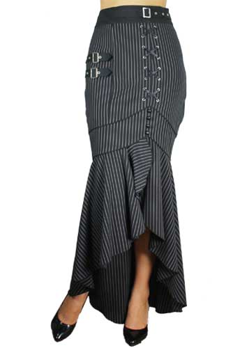 Plus Size Black Punk Pinstripe Lace Gothic Skirt