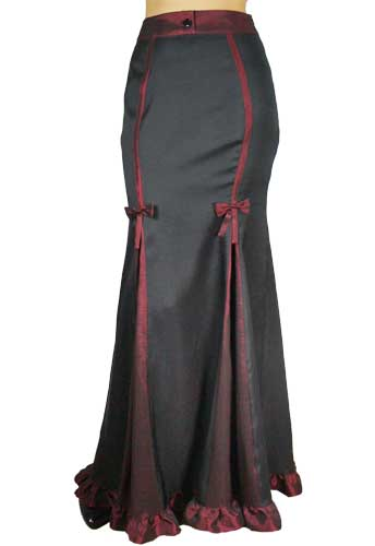 Plus Size Gothic Black and Red Elegant Long Skirt