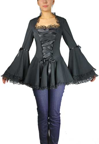 Plus Size Black Gothic Corset Ribbon Lace Top