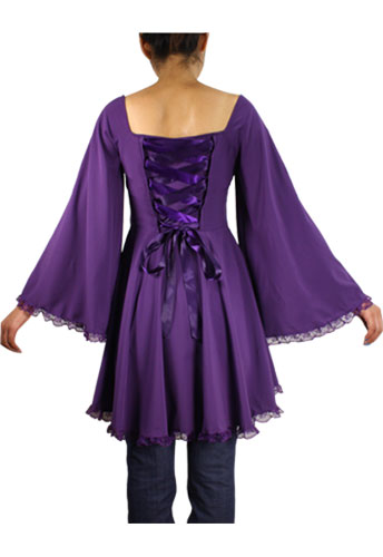 Plus Size Purple Gothic Bat Wing Flared Bustier Corset Top