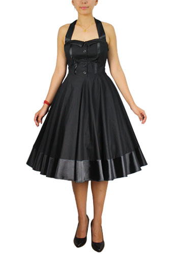 Plus Size Black Tie Back Rockabilly Gothic Swing Dress
