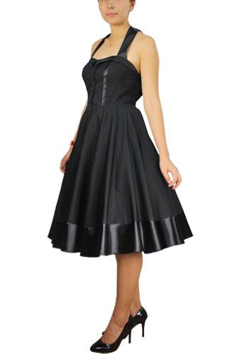 Plus Size Black Tie Back Rockabilly Gothic Swing Dress 60510
