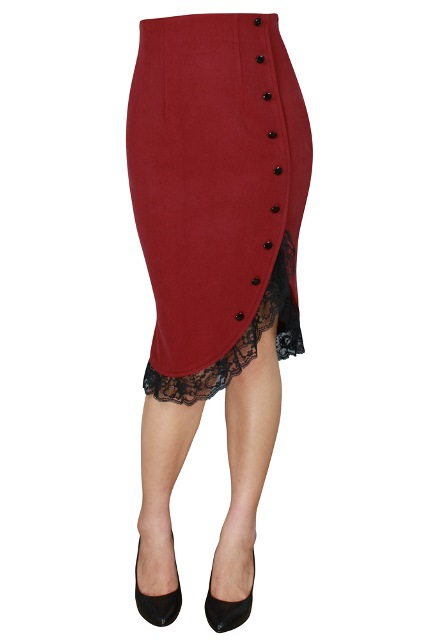 Plus Size Red Pinup Ruffle Skirt
