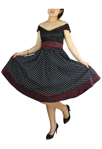 Plus Size Black and Burgundy Polka Dot Retro Rockabilly Dress