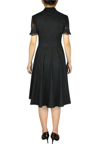 Plus Size Black Gothic 1940s Full Dress With Lace 60780 5995