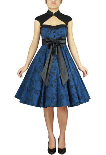 Plus Size Blue and Black Printed Archaize Pinup Dress [60943 ...