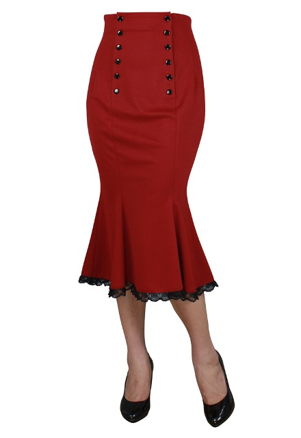 Plus Size Red Gothic Double Button Lace Rockabilly Skirt