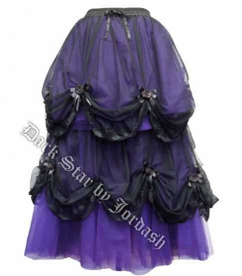 Dark Star Long Purple & Black Satin Roses Gothic Fairytale Skirt