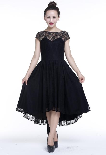 Plus Size Black Gothic Hi Lo Lace Short Sleeve Dress 72850
