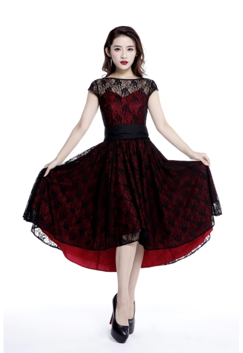 Plus Size Red & Black Gothic Hi Lo Lace Short Sleeve Dress