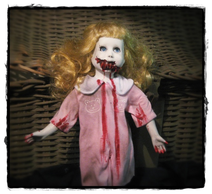 Vampire in Pink Pajamas Creepy Horror Doll by Bastet2329