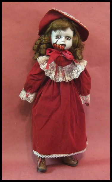 Vampire in Red Brown Eyes Creepy Horror Doll by Bastet2329