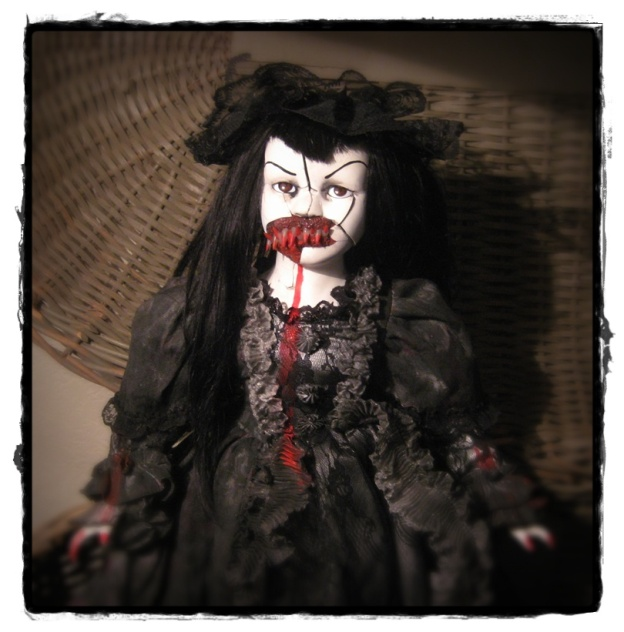 Large Mourning Vampire Lady Creepy Horror Doll by Bastet2329