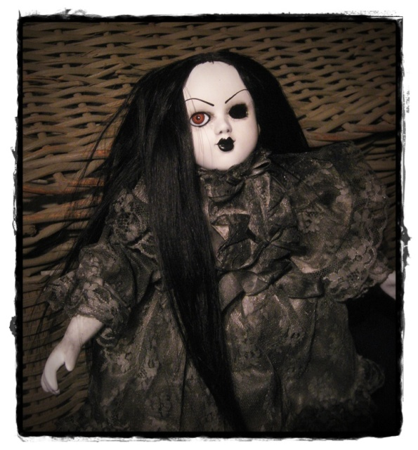One Eye Mourning Girl Creepy Horror Doll by Bastet2329