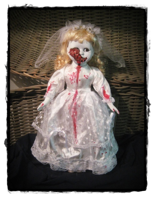 Half Face Vampire Bride Creepy Horror Doll by Bastet2329