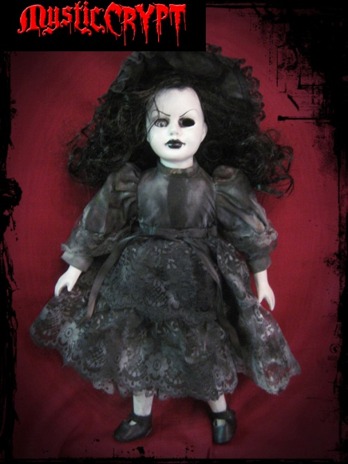 Curly Black Hair Mourning Creepy Horror Doll by Bastet2329
