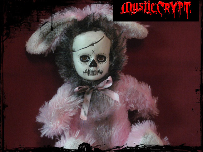 Pink Day of the Dead Rabbit Bunny Creepy Horror Doll by Bastet23