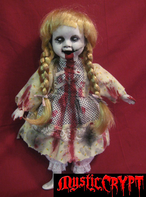 Bloody Screaming Zombie Girl w Pigtails Creepy Horror Doll Bast