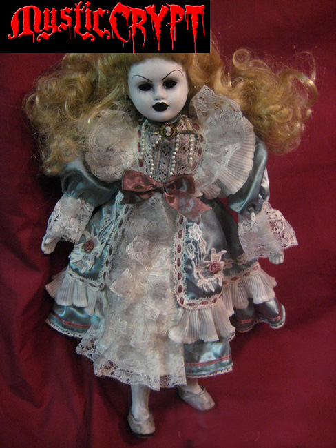 Sweet Lady w Blonde Hair Blue Dress Creepy Horror Doll Bastet232