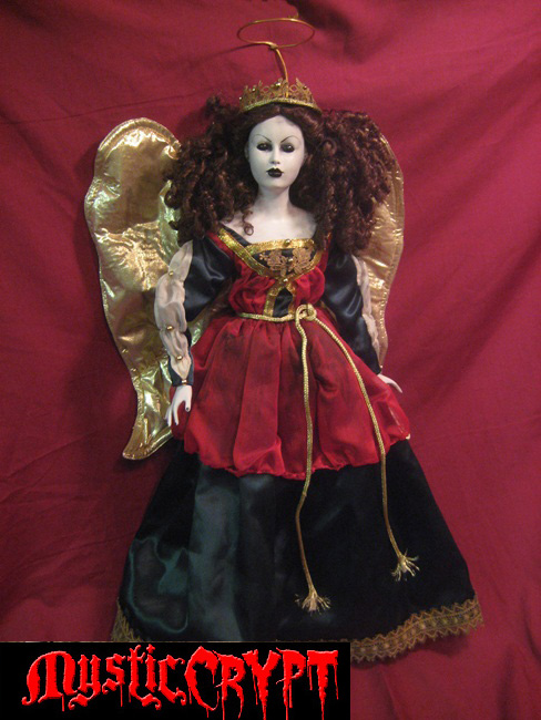 Large Holiday Angel w Gold Wings Horror Doll by Bastet2329