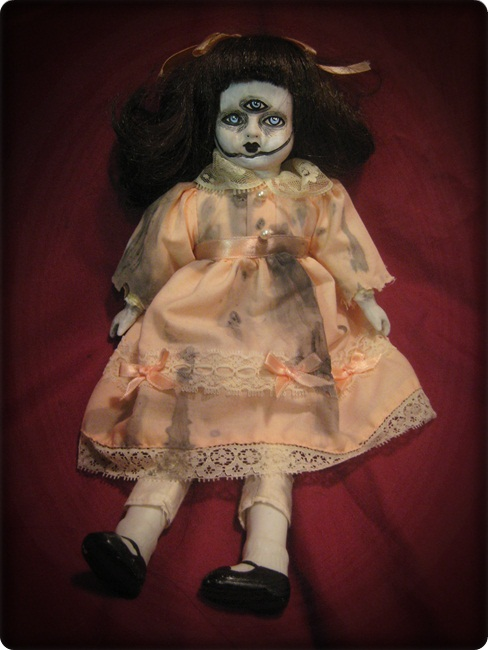 Spooky 3 Eyed Sitting Doll Creepy Horror Doll by Bastet2329