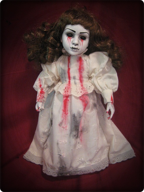 Smaller Tears of Blood Zombie Creepy Horror Doll by Bastet2329