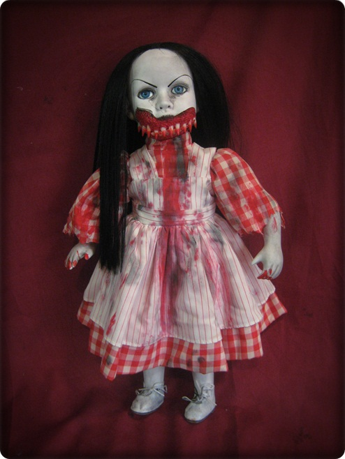 Black Hair Vampire Checker Dress Creepy Horror Doll by Bastet232