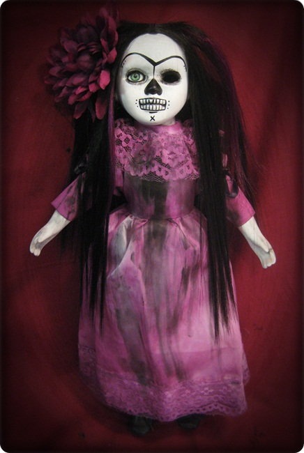 Day of Dead Girl in Purple Creepy Horror Doll by Bastet2329