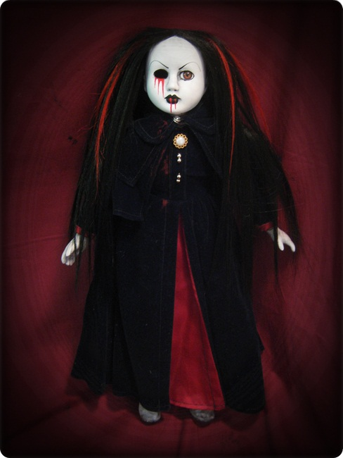 Red & Black Hair Velvet Bloody Creepy Horror Doll by Bastet2329