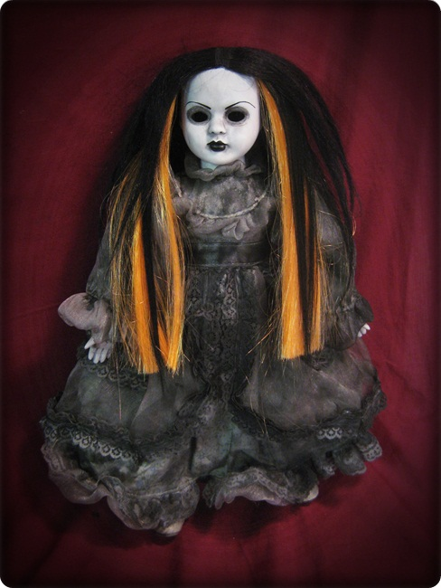 Mourning Doll w Orange & Black Hair Creepy Horror Doll by Bastet