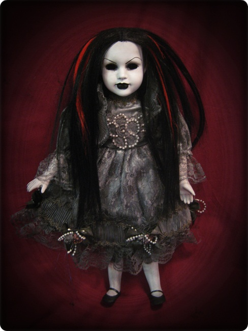 Mourning Doll w Red & Black Hair Creepy Horror Doll by Bastet232