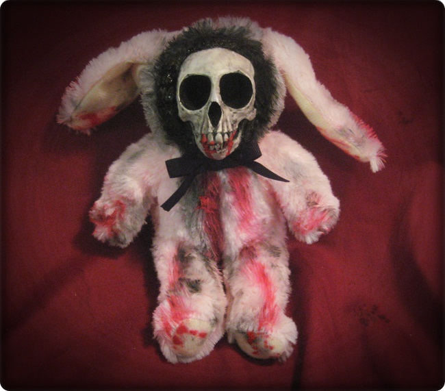 Pink Skull Rabbit Bunny Creepy Horror Doll by Bastet2329