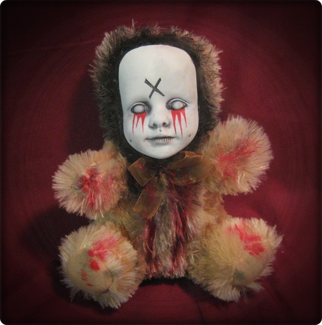 Zombie Tears Of Blood Teddy Bear Creepy Horror Doll by Bastet232